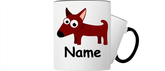 Kinder Tasse Trink Becher Hund mit Wunschnamen