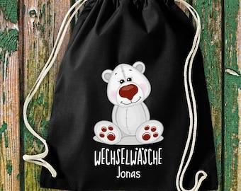 Gym bag Sports bag Change of linen, polar bear with desired text Kita Hort School Cotton Gym bag Bag bag