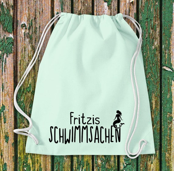 """Turnbeutel Sportbeutel """"Schwimmsachen mit Wunschnamen"""" Wunschtext Name Kita Hort Schule Baumwolle Gymsack Tasche Beutel"""