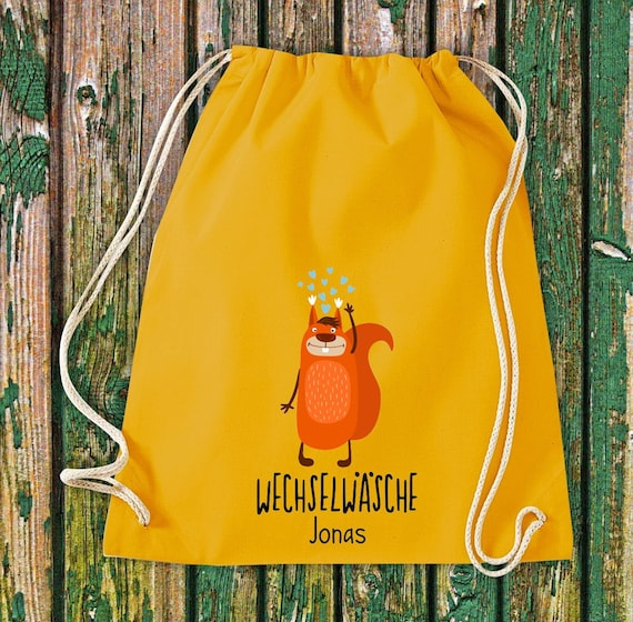 "Gym bag Sports bag ""funny animals squirrels, change of linen with desired text Kita Hort School Cotton Gym bag Bag bag bag"
