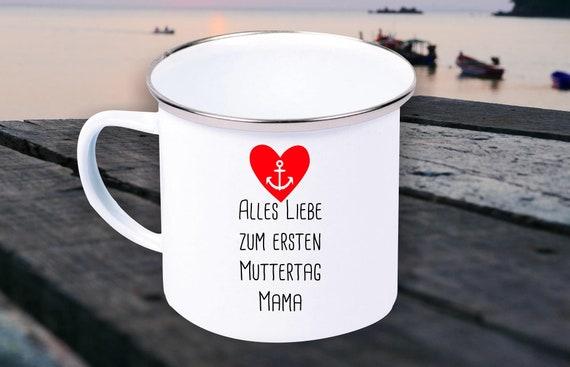 "Enamel Mug ""All Love for First Mother's Day Mom"" Cup Coffee Mug Mug Retro"
