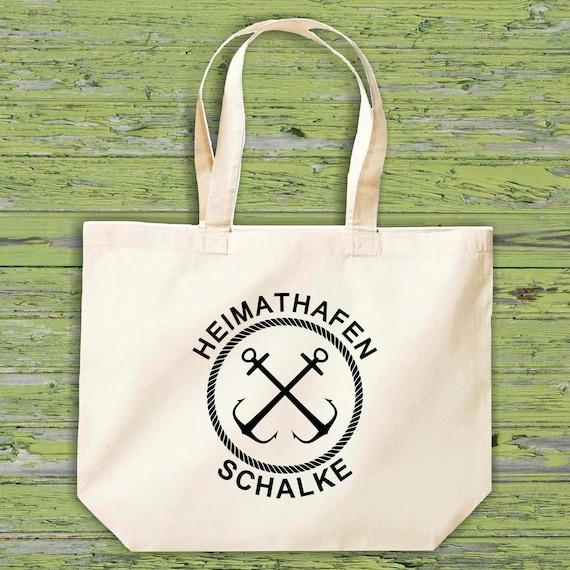 "shirtinstyle fabric bag ""Home Port Schalke"" jute cotton bag shopping bag gift idea"