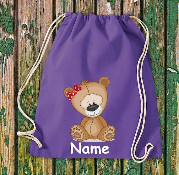 Cotton Gymbag Gymsack Kids Motif Bear Teddy with WishNames Animals Nature Meadows Forest Pouch Bag