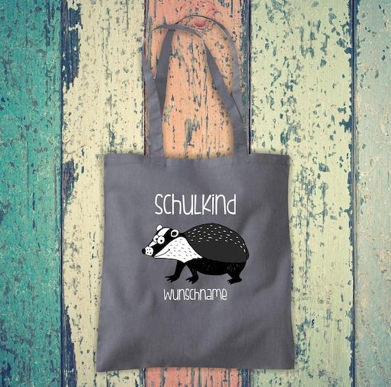 Cloth Bag SchoolChild Animals Badger with Desired Text School Cotton Jute Sports Bag Bag Bag Enrollment