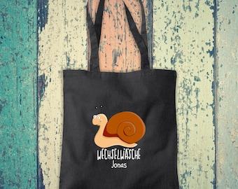 Cloth bag Change of linen, snail with desired name, desired text school cotton jute sports bag bag bag bag hort enrolment kindergarten animal