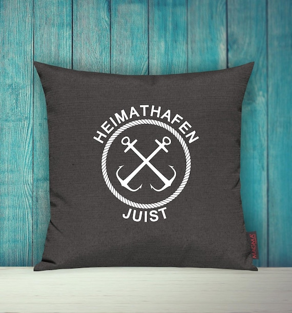 """Cushion Cover Sofa Pillow """"Heimathafen Juist Holiday Family"""" Sofa Cushion Decoration Couch Cuddly Pillow"""