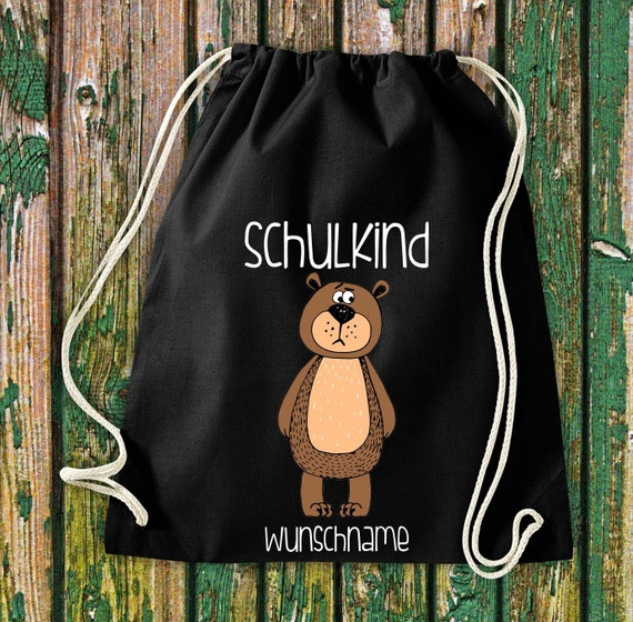 Gym bag Schoolchild Animals Bear Brown bear with desired text School Cotton Gym bag Sports bag Bag Bag Enrolment