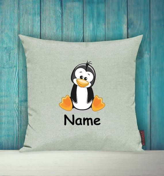 Kissenhülle Sofa Kissen Tiere Animal Pinguin Wunschname Deko Kinderzimmer Geschenk Tiere Natur Füchse Wald