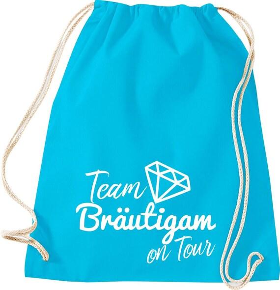 Turnbeutel Team Bräutigam on Tour Junggesellen Abschied mit Diamant Baumwolle Gymsack