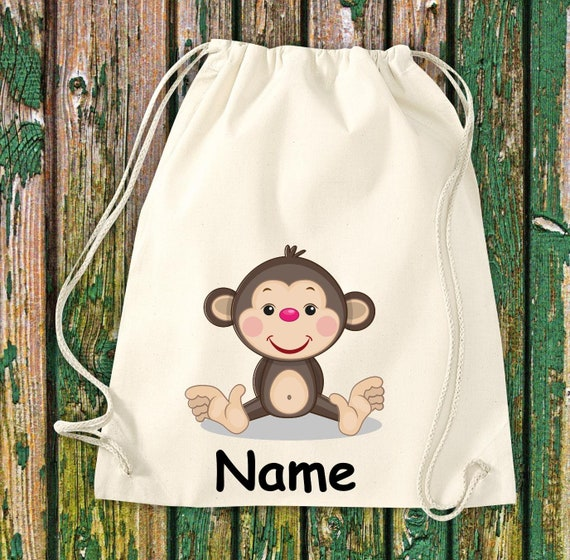 Cotton gym bag Gymsack kids motif monkey with wish names animals nature meadows forest pouch bag