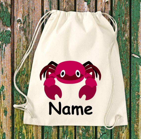 Cotton Gymbag Gymsack Kids Motif Cancer with WishNames Animals Nature Meadows Forest Pouch Bag