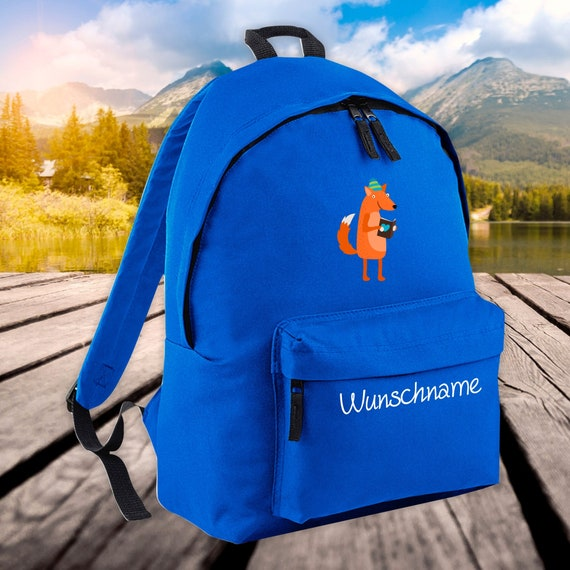 Children's Backpack Animals Fox with Wish Name Wish Text Kita
