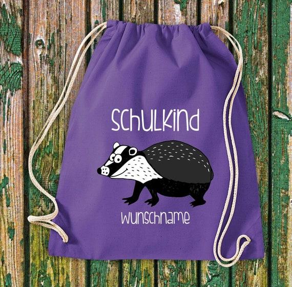 Gym bag Schoolchild Animals Badger with desired text School Cotton Gym bag Sports bag Bag Bag Enrolment