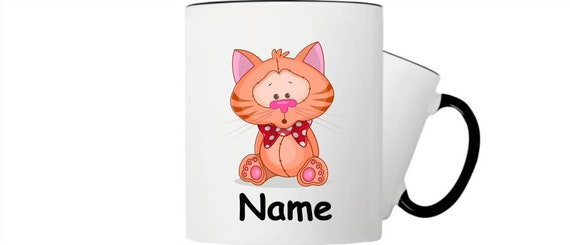 Children's cup drink mug cat with wish name