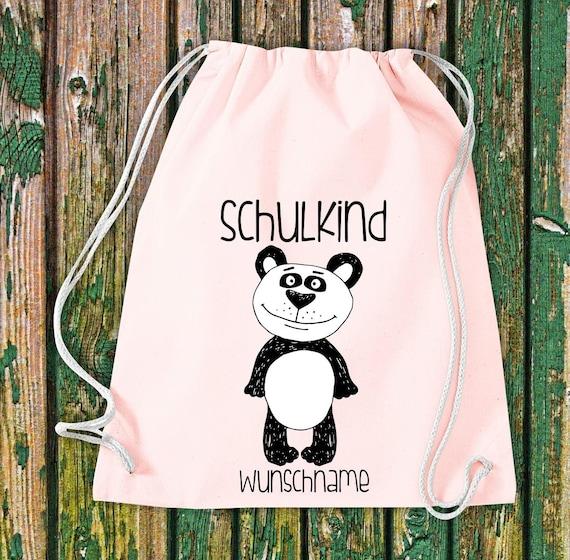 Gym bag Schoolchild Animals Panda bear Panda with desired text School Cotton Gym bag Sports bag Bag Bag Enrolment