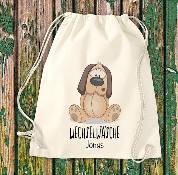Gym bag Sports bag Change of linen, dog with desired text Kita Hort School Cotton Gym bag Bag bag