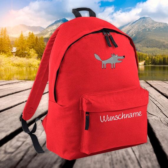Children's Backpack Animals Wolf with Wish Name Wish Text Kita