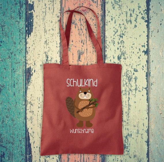 Cloth Bag SchoolChild Animals Beaver with Desired Text School Cotton Jute Sports Bag Bag Bag Enrollment
