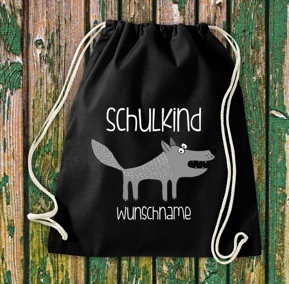 Gym bag Schoolchild Animals Wolf with desired text School Cotton Gym bag Sports bag Bag Bag Enrolment