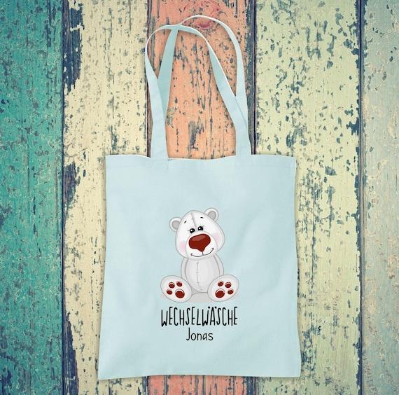 Cloth bag change of linen, polar bear with desired name, desired text school cotton jute sports bag bag bag bag hort enrollment kindergarten animal