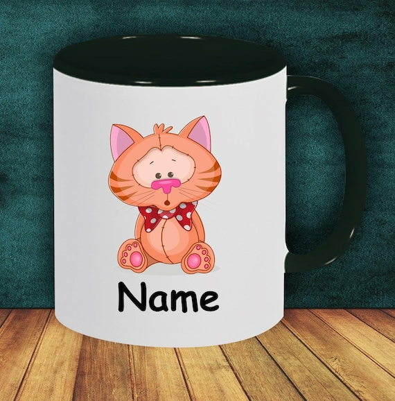 Kids Cup Drinking Mug Cat with Wish Names
