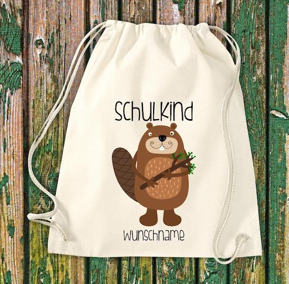 Gym bag Schoolchild Animals Beaver with desired text School Cotton Gym bag Sports bag Bag Bag Enrolment