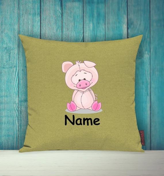 Kissenhülle Sofa Kissen Tiere Animal Schwein Wunschname Deko Kinderzimmer Geschenk Tiere Natur Füchse Wald