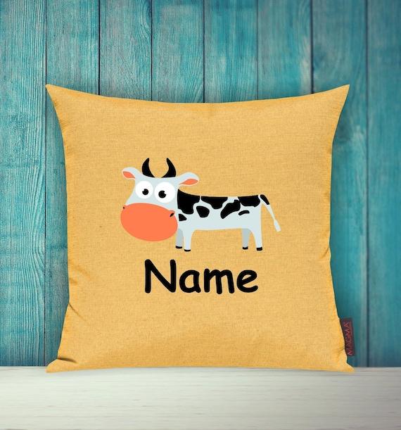 Kissenhülle Sofa Kissen Tiere Animal Kuh Wunschname Deko Kinderzimmer Geschenk Tiere Natur Füchse Wald