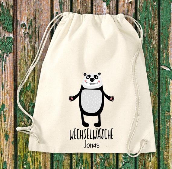 """Gym bag Sports bag """"funny animals Panda, change of linen with desired text Kita Hort School Cotton Gym bag bag bag bag"""