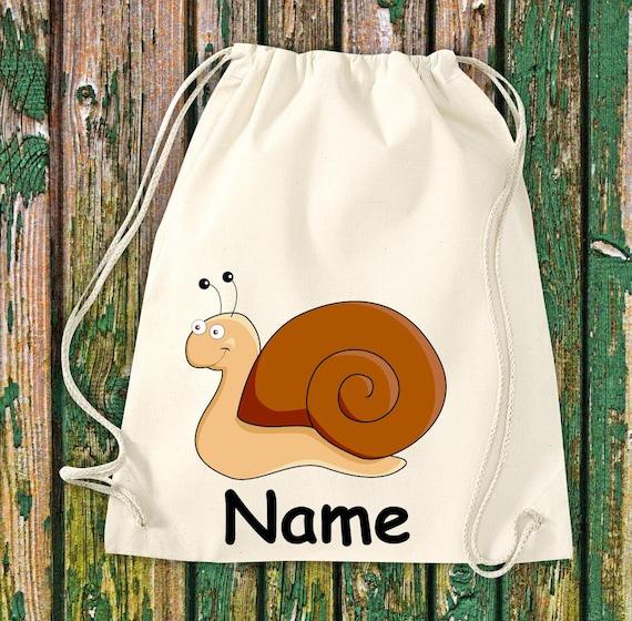 Gym bag Children's motif SChnecke with desired name Animals Nature Meadows Forest Bag Bag Kita Hort School Enrolment Sports bag Laundry