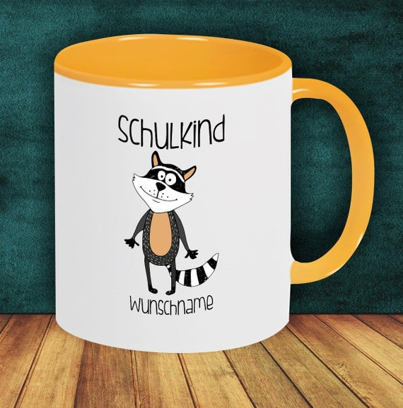 Children Cup Drinking Cup SchoolChild Raccoon with Desired Name Enrollment Kita Hort Birthday School Teacup