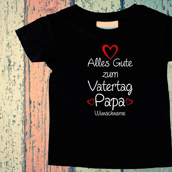Baby Kids T-Shirt Happy Father's Day with Wish Name Dad Gift Birth Dad Day