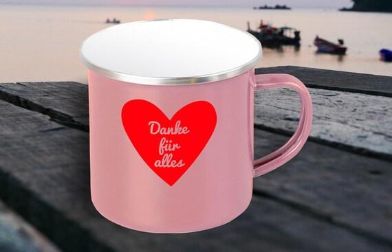 """Emaille Becher """"Danke für alles Dankeschön Geschenkidee"""" Tasse Kaffeetasse Kaffeebecher Mug Retro"""