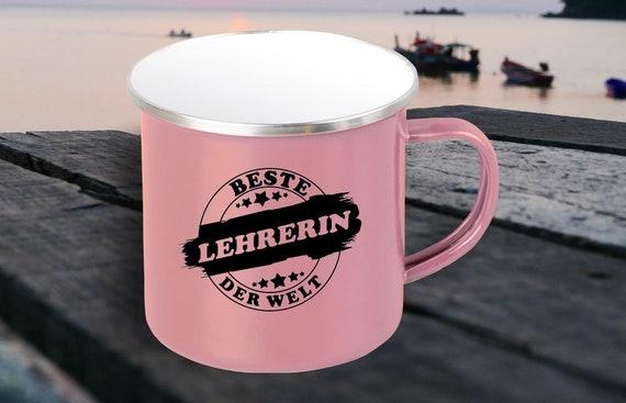 "Emaille Becher ""Beste Lehrerin der Welt"" Tasse Kaffeetasse Kaffeebecher Mug Retro"