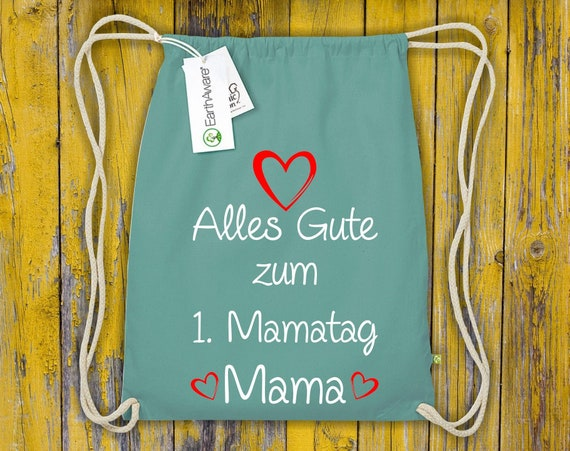 """Organic Gymsack """"All The Happy 1st Mommy Day Mommy"""" Gym Bag Bag Sports Bag Backpack"""