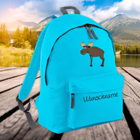 Children's Backpack Animals Moose with Wish Name Wish Text Kita