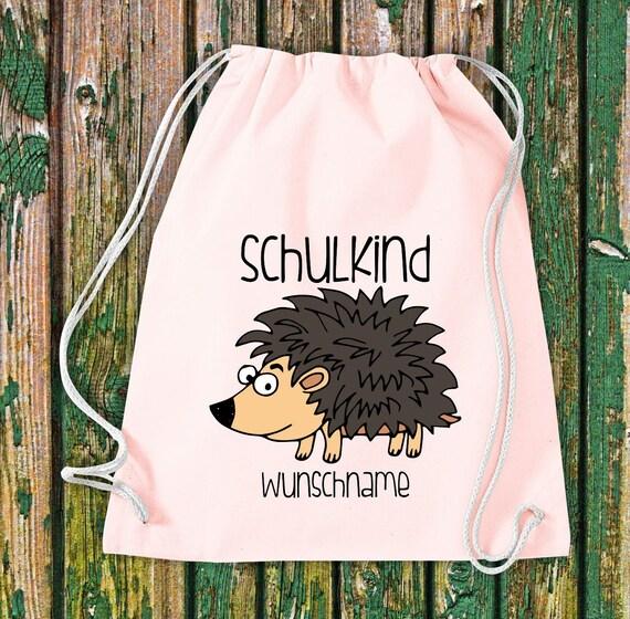 Gym bag Schoolchild Animals Hedgehog with desired text School Cotton Gym bag Sports bag Bag Bag Enrolment
