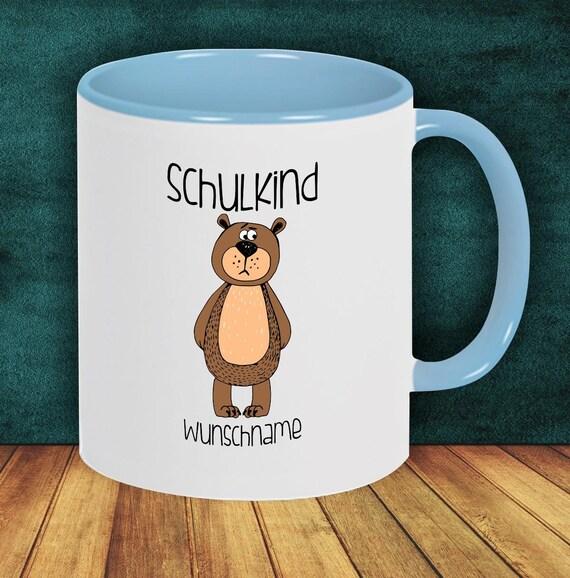 Children Cup Drink mug Schoolchild Bear with desired name Enrollment Kita Hort Birthday School Teacup