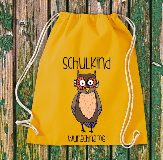 Gym bag Schoolchild Animals Owl Kautz with desired text School Cotton Gym bag Sports bag Bag Bag Enrollment