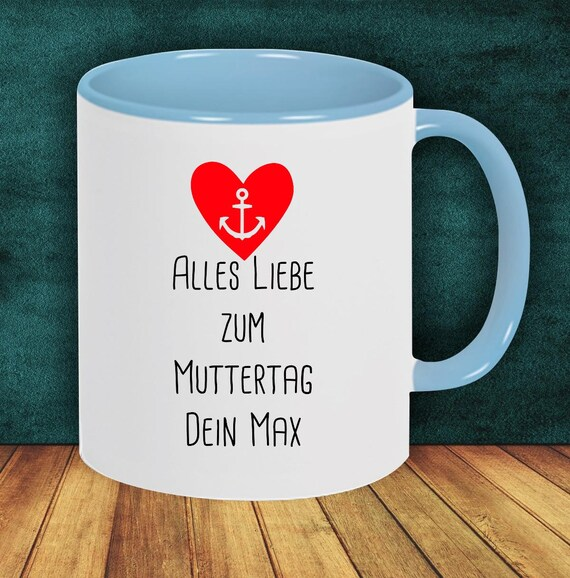 "Coffee pot ""All the best for Mother's Day with wish name or text"" cup coffee cup teacup gift mug"