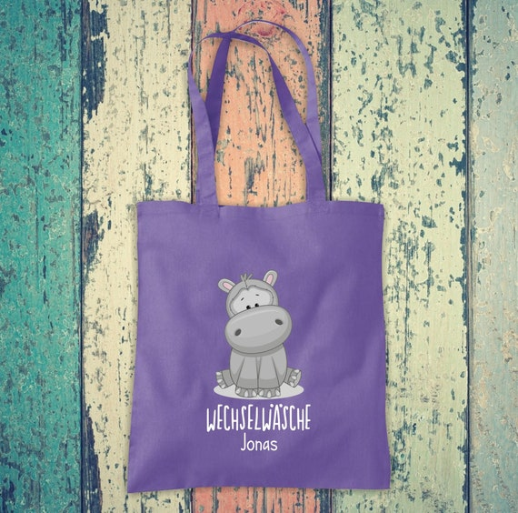 Cloth bag change of linen, hippo with desired name, desired text school cotton jute sports bag bag hort enrolment kindergarten animal