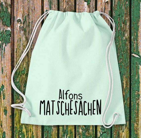 "Gymnastics bag sports bag ""Matschesachen mit Wunschnamen"" Wish text name Kita Hort School cotton gymbag bag pouch"