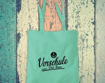 Fabric Bag Anchor Preschool with Desired Name, Desired Text School Cotton Jute Sports Bag Bag Bag Hort Enrollment Kita