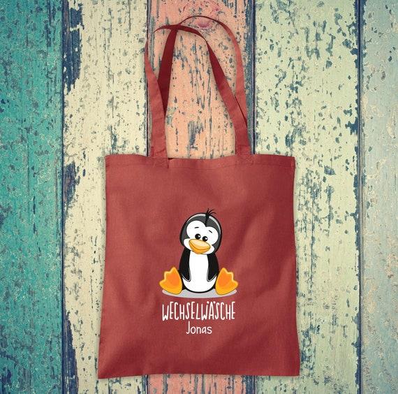 Cloth bag change of linen, penguin with desired name, desired text school cotton jute sports bag bag bag bag hort enrolment kindergarten animal