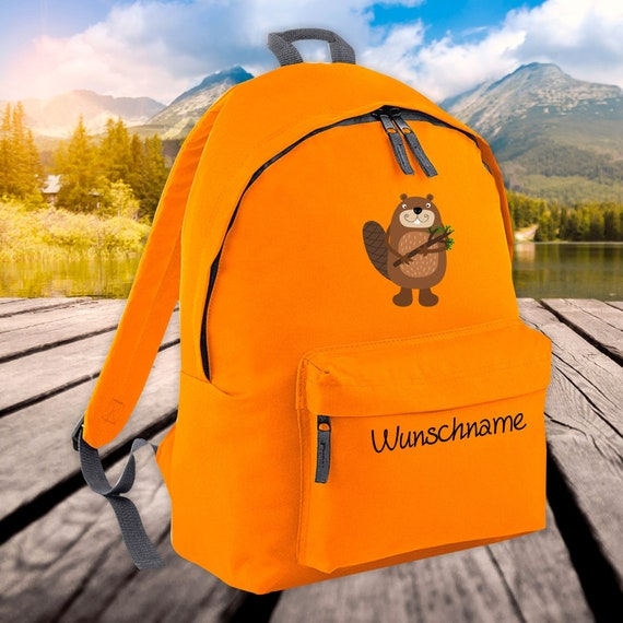 Children's Backpack Animals Beaver with Wish Name Wish Text Kita