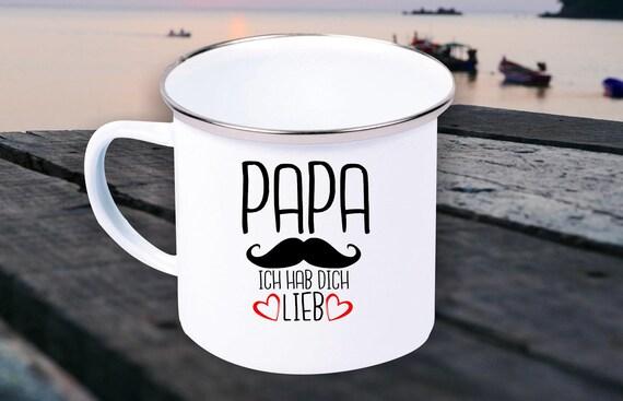 "Enamel Mug ""Dad Dad I Love You Love Hipster Beard Cool"" Cup Coffee Mug Mug Retro"