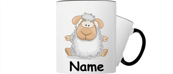 Children's cup drink mug sheep with wishful name
