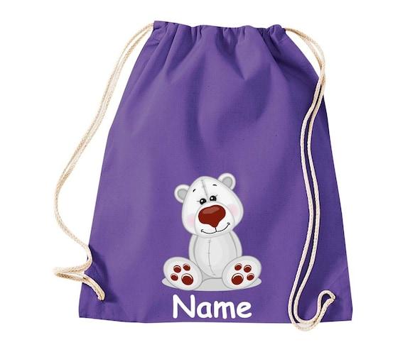 Cotton gym bag gymsack children's motif polar bear with wishful name