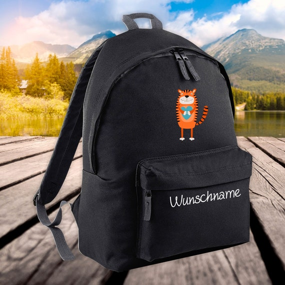 Children's Backpack Animals Tiger with Wish Name Wish Text Kita