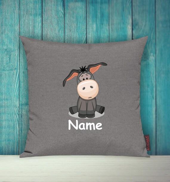Kissenhülle Sofa Kissen Tiere Animal Esel Wunschname Deko Kinderzimmer Geschenk Tiere Natur Füchse Wald